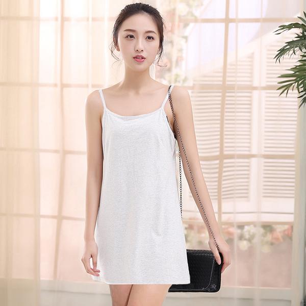 棉混紡細肩帶短款連身襯裙-80cm (白 黑) 11670004