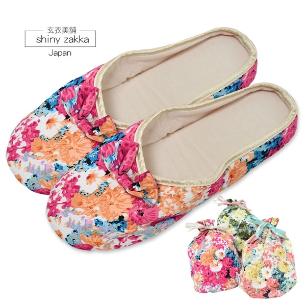 日本室內/旅用布拖-蝴蝶結花漾摺疊布拖鞋22~24-可收納好攜帶-3色-玄衣美舖