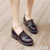 大碼小皮鞋 小皮鞋女復古學院甜美可愛英倫淺口大碼中跟單鞋 qf18452【小美日記】