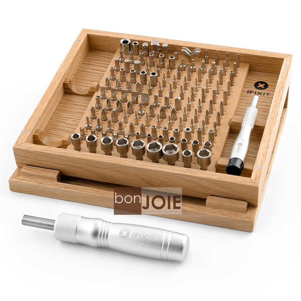 ::bonJOIE:: 美國進口 iFixit Universal Bit Kit 128 Bits (橡木盒精裝版) 電腦手機工具組 128 合 1 螺絲 Oak Case