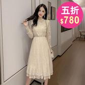 洋裝 韓系婚禮小禮服 蕾絲長袖連身裙 花漾小姐【預購】