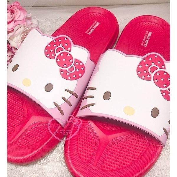 小花花日本精品Hello Kitty兩件699黑色紅色浴室拖鞋室內拖鞋塑膠厚底拖鞋輕造型拖鞋 818191