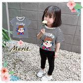 條紋百搭牛奶妹舒適短T 可愛 女童 上衣 短袖 T恤 日系 俏皮 卡通 童裝 條紋