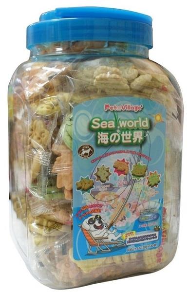 *WANG*Pet Village 海洋世界《水族造型》犬用餅乾-800g(20g×40袋)/桶