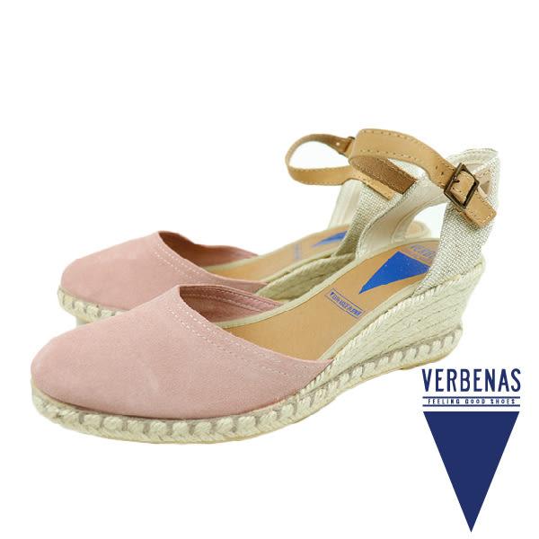 【VERBENAS】Malena牛皮絨面革楔形草編鞋/涼跟鞋 粉紅色(060154-PIN)