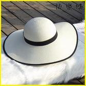 沙灘帽女13CM大邊帽海邊度假防曬遮陽韓版小清新百搭大檐草帽子
