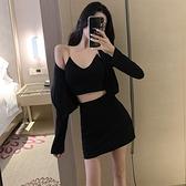女裝套裝秋季網紅性感小吊帶潮流開衫高腰包臀半身裙休閒三件套裝