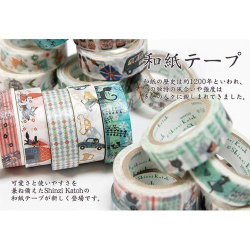 Shinzi Katoh 加藤真治 和紙膠帶15mm 小貓隊伍_ZI02876