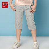 JJLKIDS 男童 氣質小紳士鈕扣鬆緊七分褲(藏青)