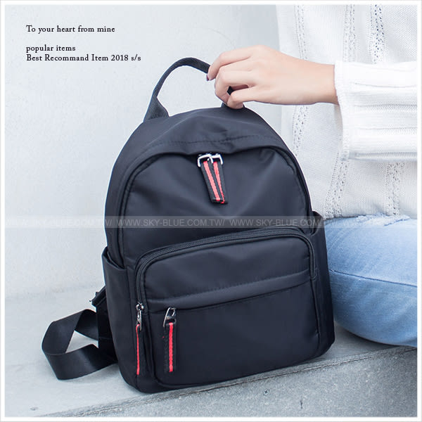 後背包-簡約配色拉鏈尼龍後背包-共3色-A12121549-天藍小舖