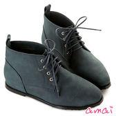 amai微方頭內增高綁帶短靴 藍