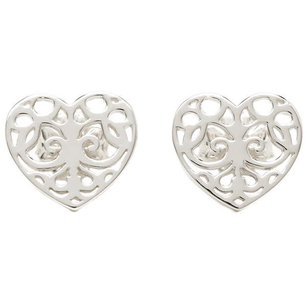 Tiffany & Co.  純銀心型鏤空雕刻耳環