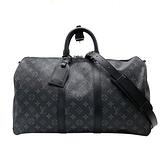【台中米蘭站】全新展示品 Louis Vuitton BANDOULIÈRE 45 KEEPALL 二用旅行袋(M40569-黑)