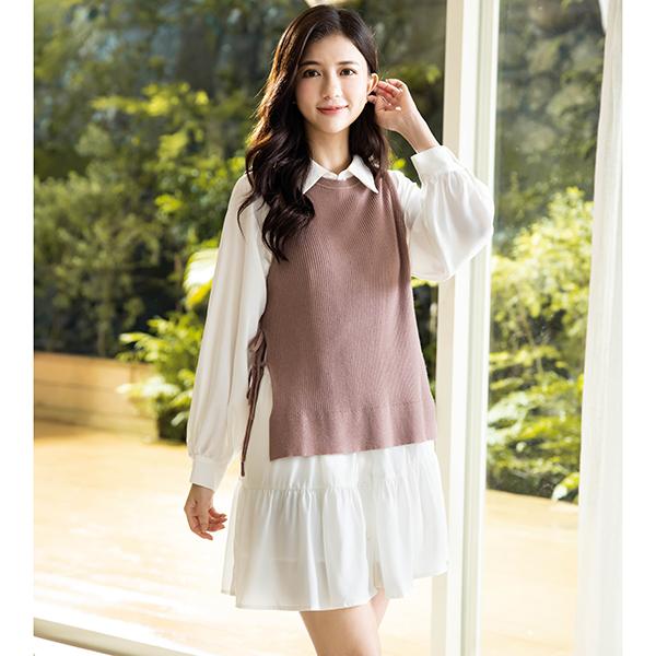 復古褶襉設計可愛風短版洋裝