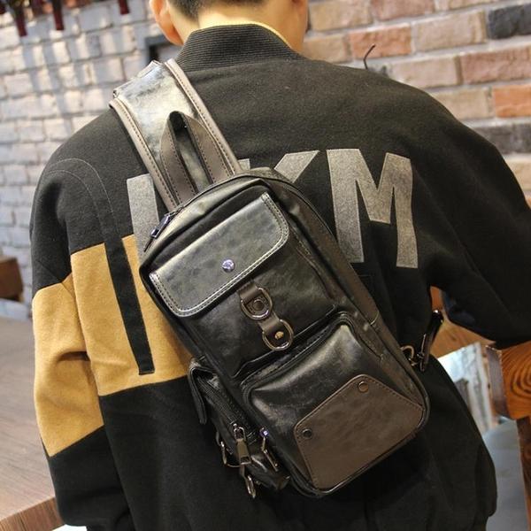 男士胸包2021新款時尚簡約潮牌休閒小背包男包潮流側背斜背包皮質 黛尼時尚精品