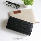 Catsbag|多層收納大容量壓紋編織長夾|可放6吋手機|700116