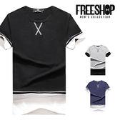 短T Free Shop【QMD50208】日韓簡約交叉造型車線拼接圓領棉質短T短袖上衣潮T 三色