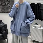 T恤長袖T恤男多口袋工裝機能風港風ins秋季寬鬆打底衫高街原宿風衣服 阿卡娜