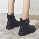 短靴 帥氣馬丁靴女英倫風ins潮鞋子短靴新款秋冬季加絨網紅騎士靴 (快速出貨)