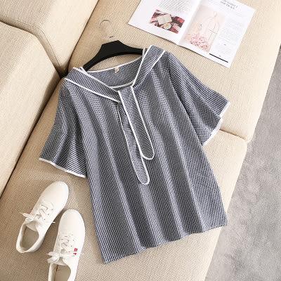 T恤【G123】FEELNET中大尺碼女裝夏裝薄款泡泡棉小方格荷葉袖上衣 XL~4XL