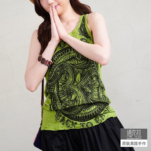 【潘克拉】泰國符號插畫印花捲皺純棉背心 TM898 FREE綠色