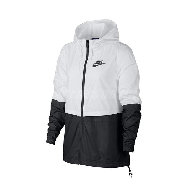 Nike 外套 NSW Repel 女款 白 連帽 撞色 防風 透氣 下擺抽繩【ACS】 AJ2983-102