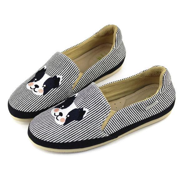 Paidal 波士頓犬平底休閒鞋-時尚黑