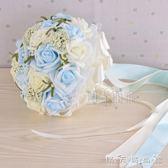 結婚花束新款韓版仿真新娘伴娘手捧花婚禮攝影道具 贈胸花手腕花 晴天時尚館
