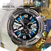 【INVICTA】三繩ㄧ生 - 三眼計時腕錶 - 藍銀繩索