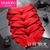 莫代爾紅內褲女純棉無痕中腰抗菌大紅色三角褲本命年紅色豬年屬豬