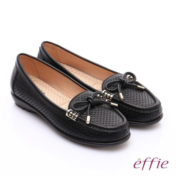 effie 舒適通勤 柔軟牛皮沖孔奈米休閒鞋 黑