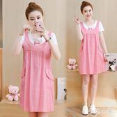 韓版時尚波點假兩件孕婦夏季新款寬鬆顯瘦氣質百搭短袖連身裙 JA6310『毛菇小象』