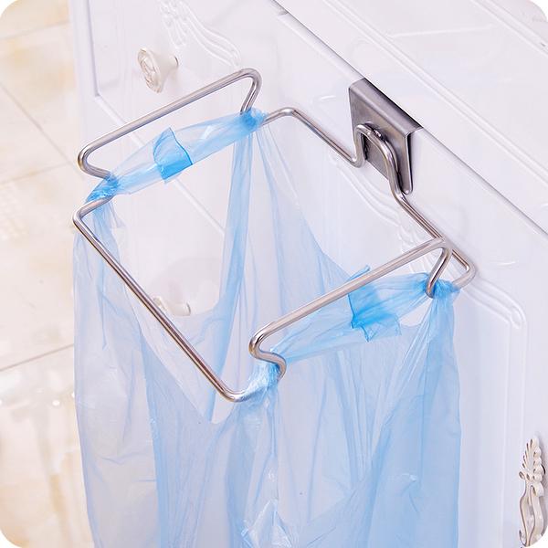 垃圾架 創意門背式不銹鋼垃圾袋架子收納掛鉤多功能廚房抹布櫥櫃門後掛