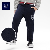 Gap男童 Logo徽標抽繩鬆緊腰修身束口褲 491890-海軍藍