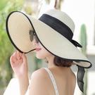 沙灘帽大帽檐 夏天沙灘草帽子女韓版潮海邊大帽檐防曬遮陽太陽度假百搭大沿涼帽 歐歐
