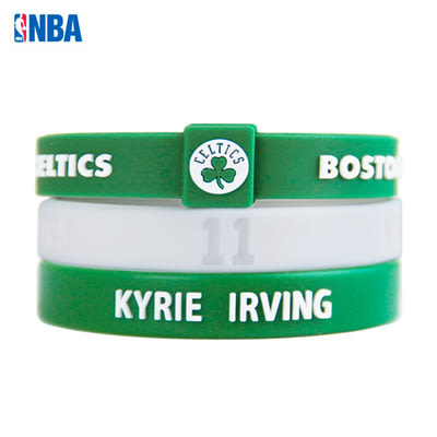 NBA官方授權正版 運動矽膠手環波士頓賽爾提克 KYRIE IRVING 恩文 (賽爾提克手環+恩文手環兩條)