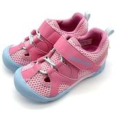 《7+1童鞋》中童 日本 MOONSTAR 月星 護趾 透氣 魔鬼氈 機能涼鞋 C482 粉色