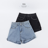 配色車線雙釦高腰牛仔短褲M-XL號-BAi白媽媽【310776】