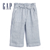 Gap女幼亞麻混紡條紋休閒褲577197-藍色條紋
