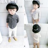 春裝新款寶寶條紋襯衫男童立領襯衣嬰幼兒
