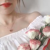 正韓水晶轉運珠鎖骨鍊女項鍊脖鍊純銀草莓晶
