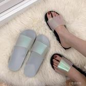 雨鞋 拖鞋女日系超火ins鐳射拖鞋學生休閒一字果凍軟膠沙灘涼拖鞋潮