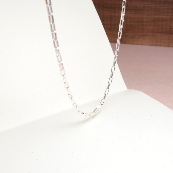長方盒鍊(2.0mm中細鍊) 18吋 925純銀項鍊