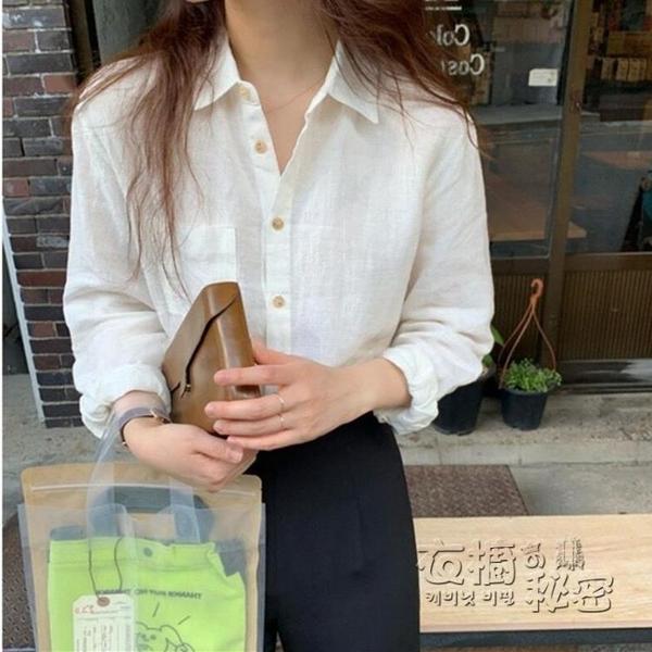 棉麻上衣 新款秋季韓版白色襯衣設計感小眾寬松休閒長袖襯衫上衣女麻棉 衣櫥秘密