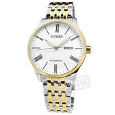 CITIZEN 星辰表 / NH8354-58A / 機械錶 自動上鍊 礦石強化玻璃 日期星期 不鏽鋼手錶 白x鍍金 40mm