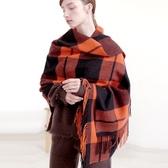 羊毛披肩-橘黑格紋流蘇復古女圍巾73wq18【時尚巴黎】