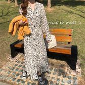 雪紡裙-新款韓版復古氣質V領碎花中長裙女寬鬆雪紡打底潮 花間公主