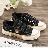帆布鞋 魔術貼棉鞋女新款冬季帆布鞋百搭黑色學生一腳蹬板鞋韓版 萊俐亞 交換禮物