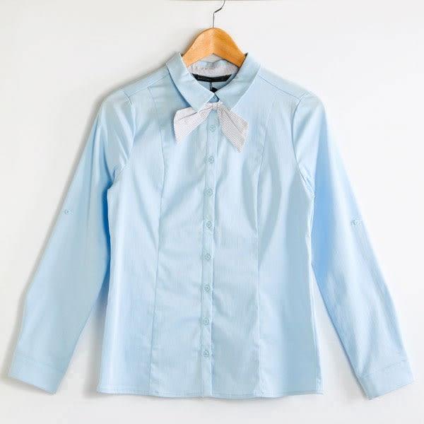 【MASTINA】蝴蝶結領造型領襯衫-藍  秋裝限定嚴選