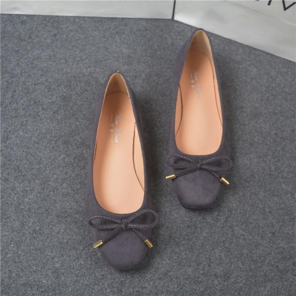 方頭磨砂絨布素面蝴蝶結芭蕾舞鞋娃娃鞋平底鞋女鞋灰色(31-44大尺碼小尺碼)現貨